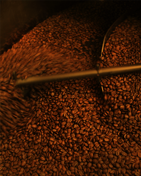 coffee beans in the roasting process