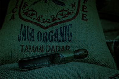 organic beans in a decorated sack
